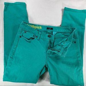 J. Crew green toothpick jeans 27